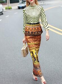 Multicolor Peplum Tribal Print Maxi Dress