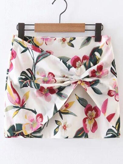 Falda floral con cremallera en la parte lateral - multicolor