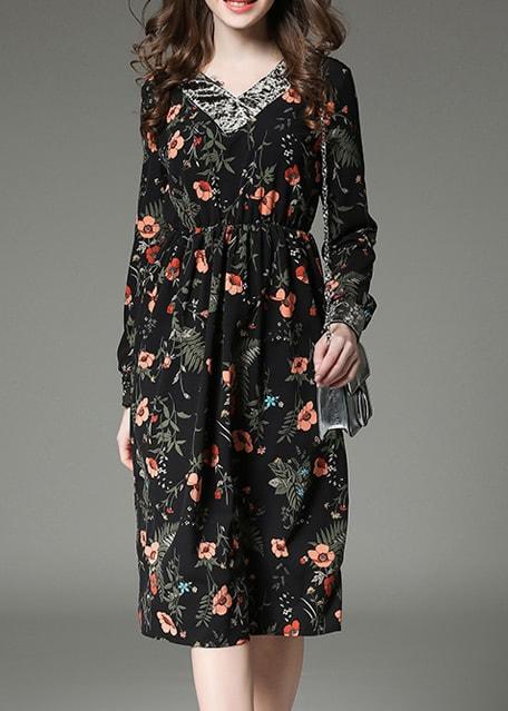 Фото Black V Neck Floral A-Line Dress. Купить с доставкой