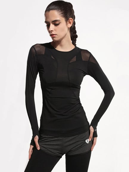 Image of Active Mesh Paneled Gym T-Shirt With Thumb Holes