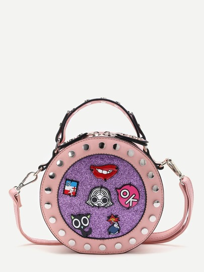 Pink Studded Trim Patch Detail Round Crossbody Bag