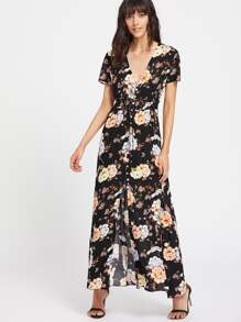 Flower Print Button Front Tassel Tied Smocked Waist Dress