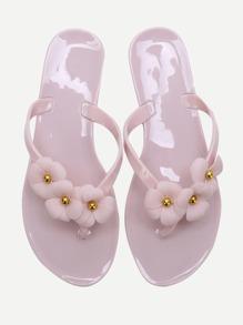 Pink Flower Embellished Flip-Flops