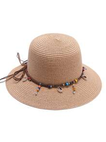 Camel Beaded Detail Straw Hat