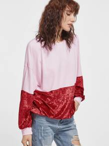 Color Block Splicing Velvet Drop Shoulder Sweatshirt