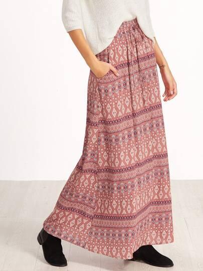 Pink Vintage Print Drawstring Waist Maxi Skirt