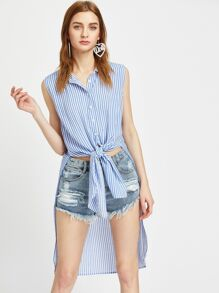 Striped Knot Front High Low Sleeveless Blouse