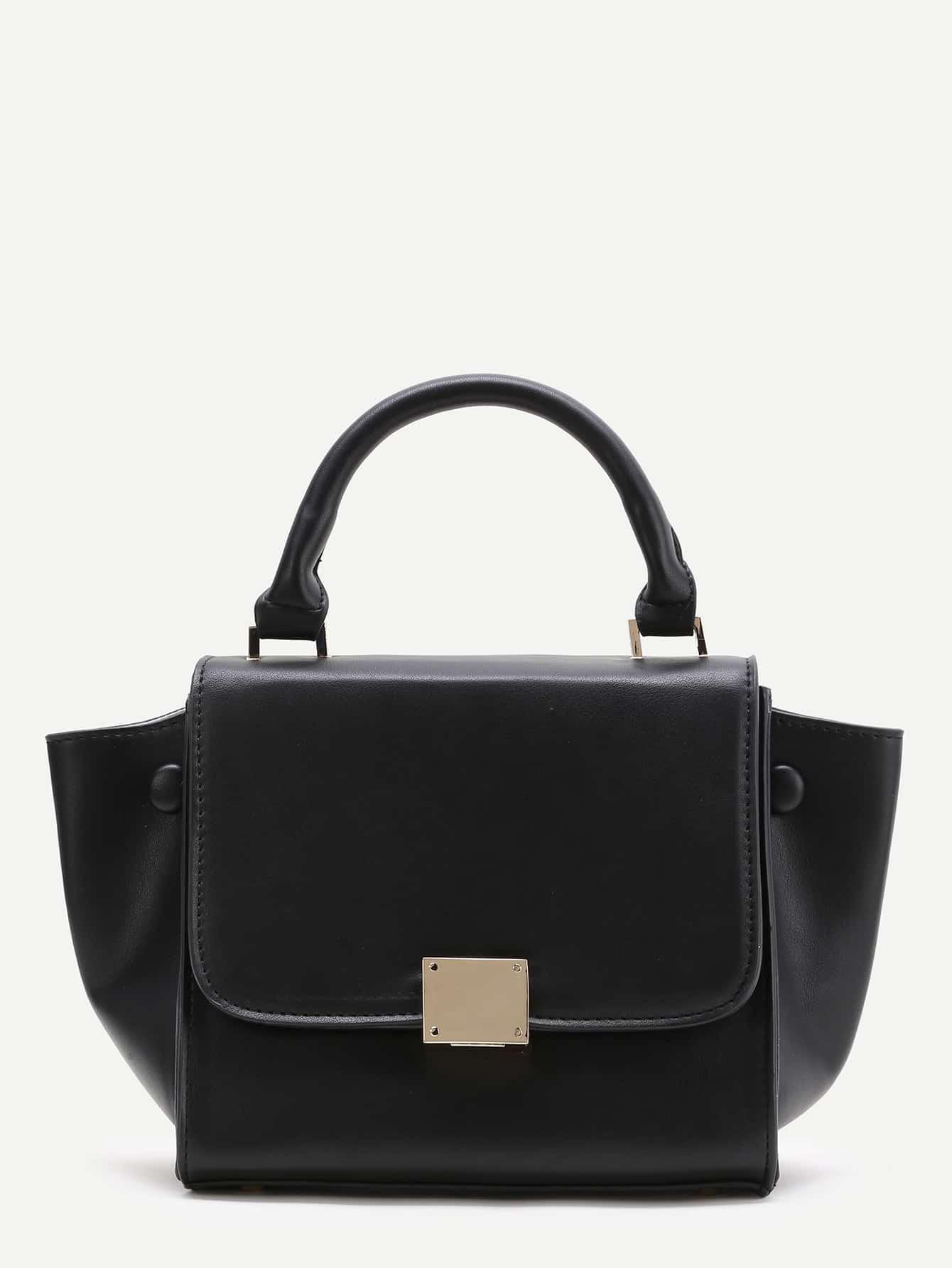 Фото Black Zipper Back PU Satchel Bag. Купить с доставкой