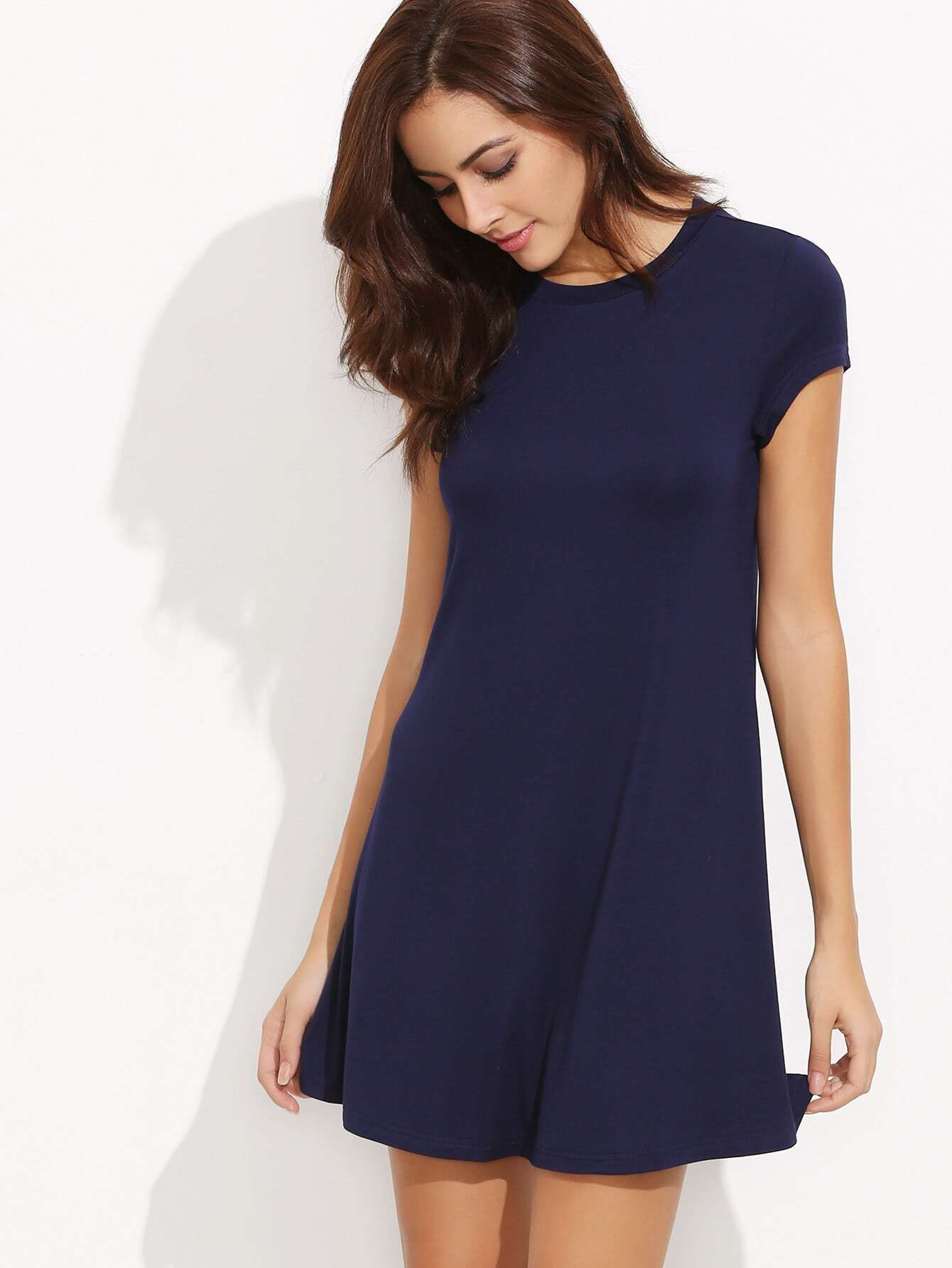 Фото Navy Short Sleeve Shirt Cut Swing Dress. Купить с доставкой