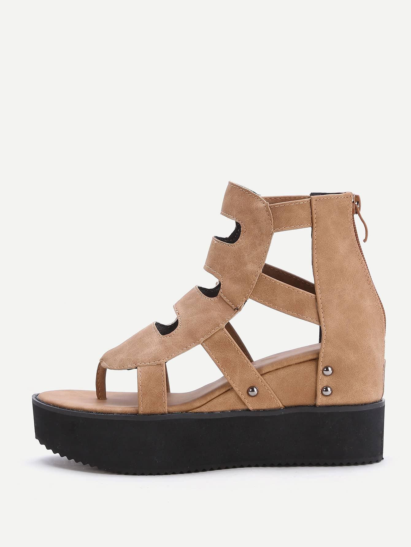 Фото Khaki Cutout Toe Post Flatform Sandals. Купить с доставкой