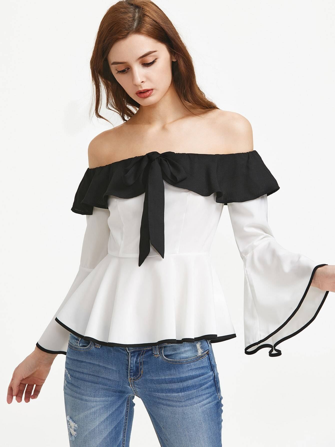 Contrast Ruffle Off The Shoulder Bell Sleeve Peplum Top