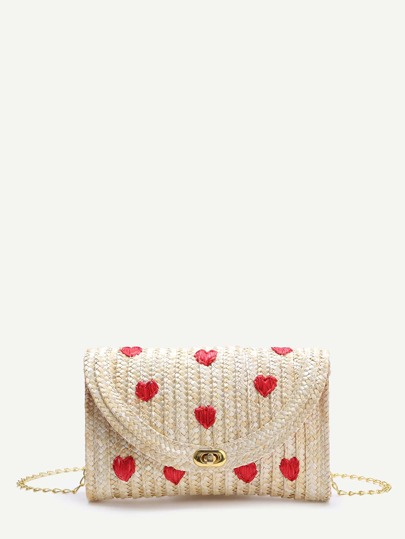 Beige Heart Straw Shoulder Bag With Chain