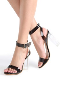 Black Ankle Strap Chunky Heeled Clear Sandals