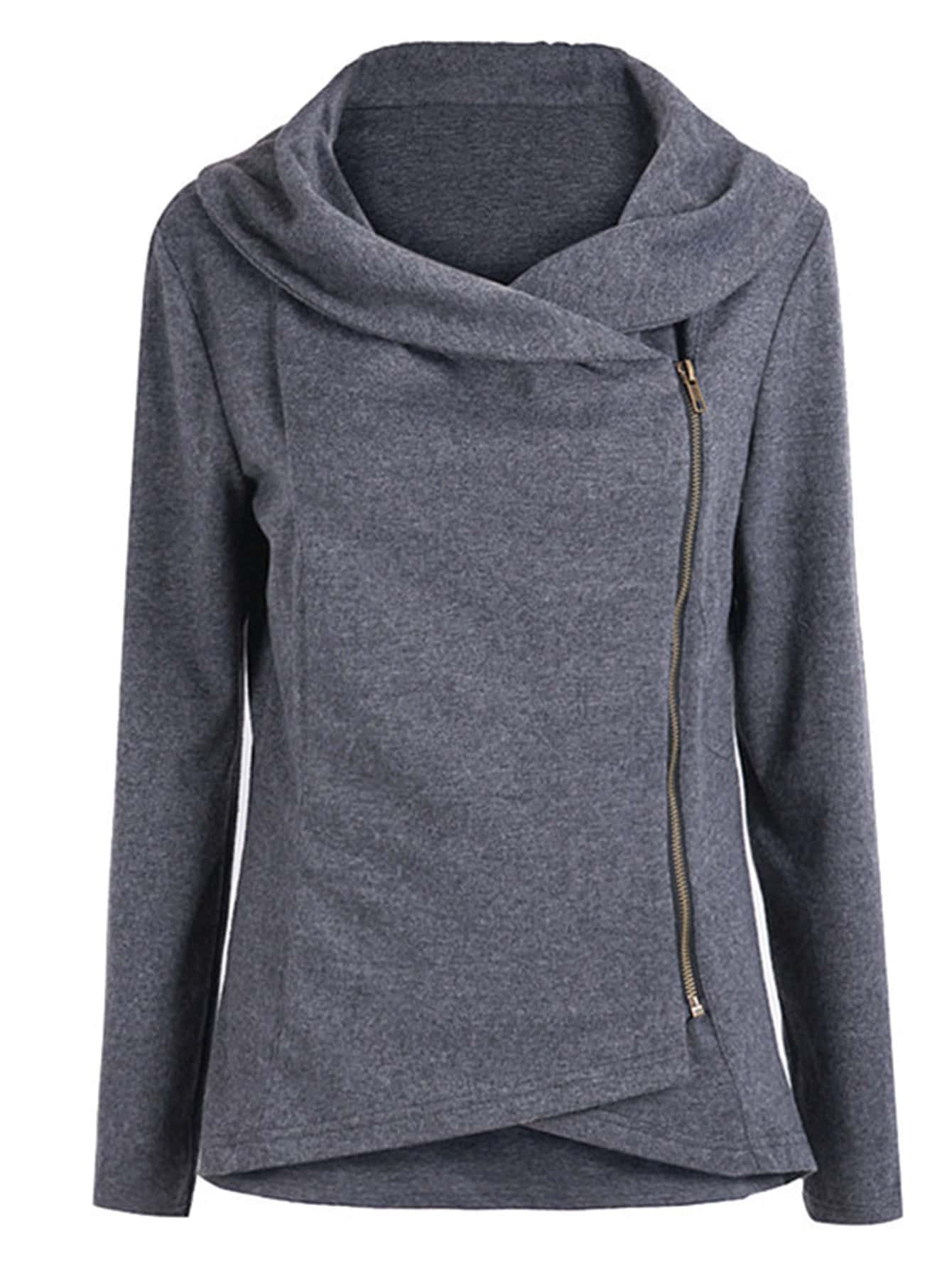 Image of Asymmetric Zip Outerwear