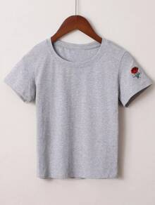 Grey Flower Embroidery T-shirt