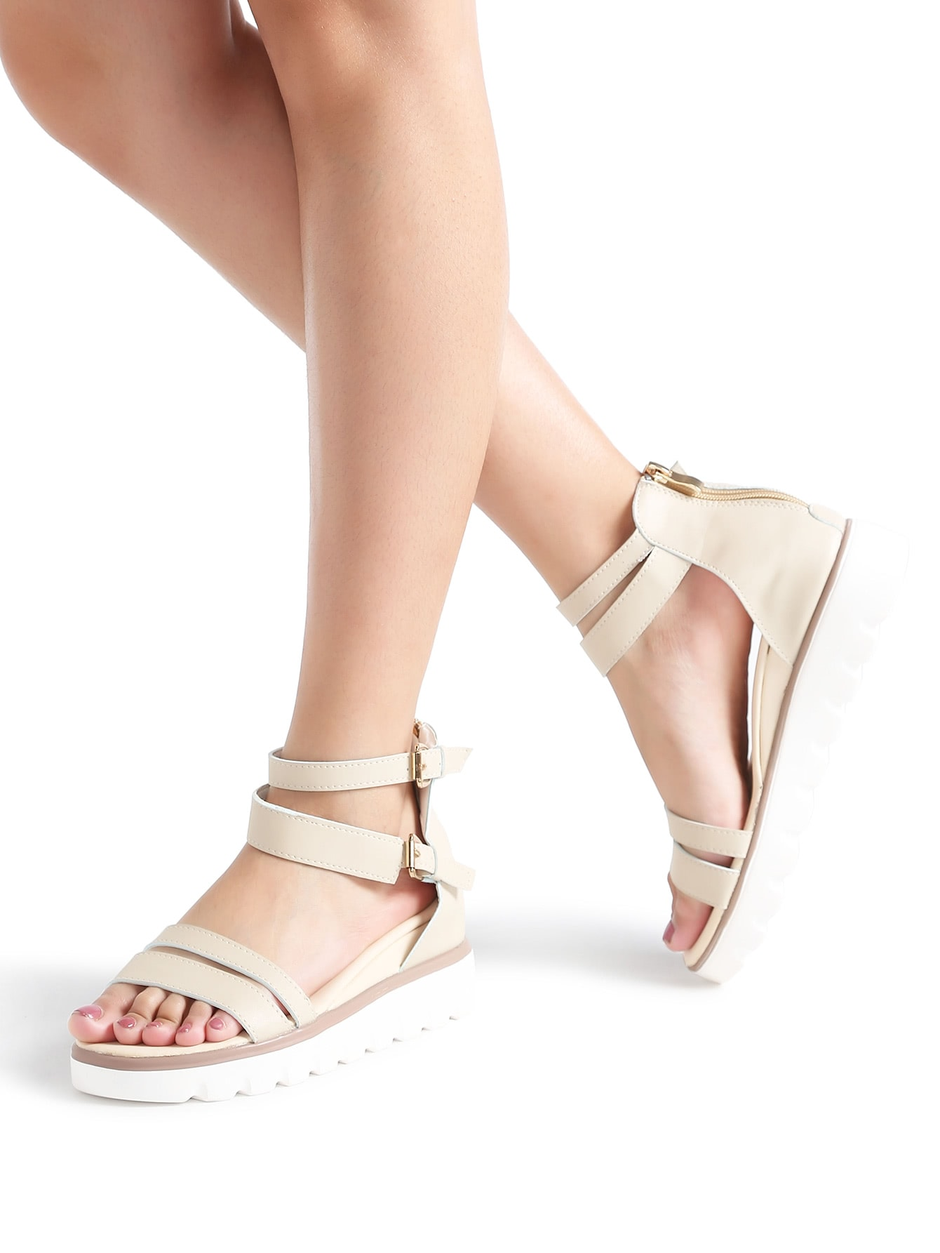 Image of Apricot Strappy Zipper Back Flatform Sandals