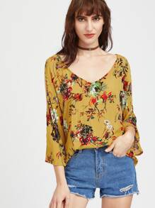 Flower Print Split Sleeve Tie Back Top