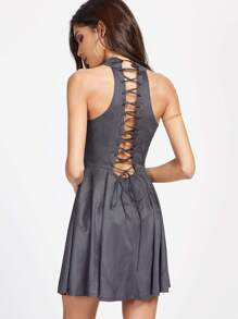 Lace Up Back Halter Neck Dress