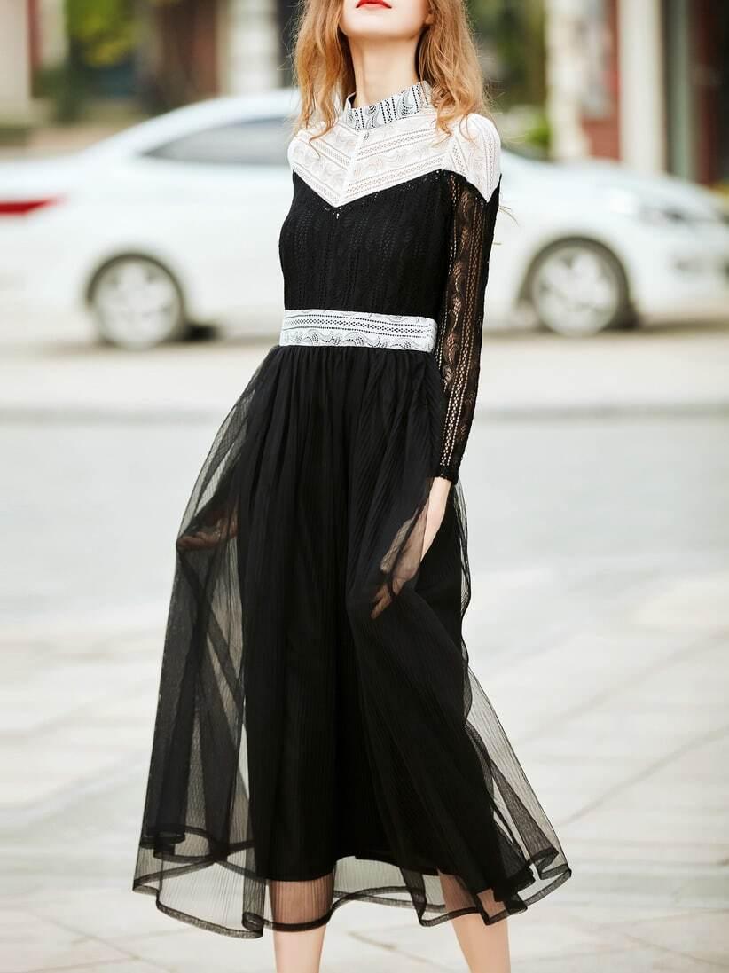 Фото Black Contrast White Mesh Lace Gauze Dress. Купить с доставкой