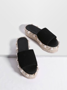 Black Faux Pearl Espadrille Flatform Slippers