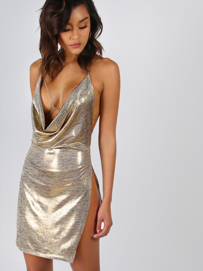 Backless Metallic Plunge Cowl Slit Dress
