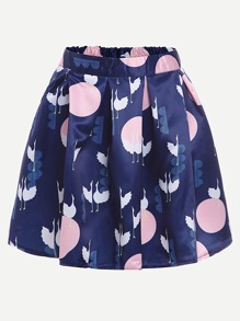 Crane Print Box Pleat Skirt
