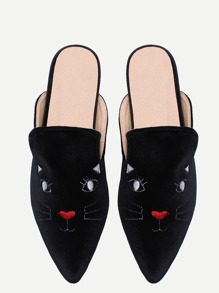 Chanclas punto de terciopelo con bordado de gato - negro