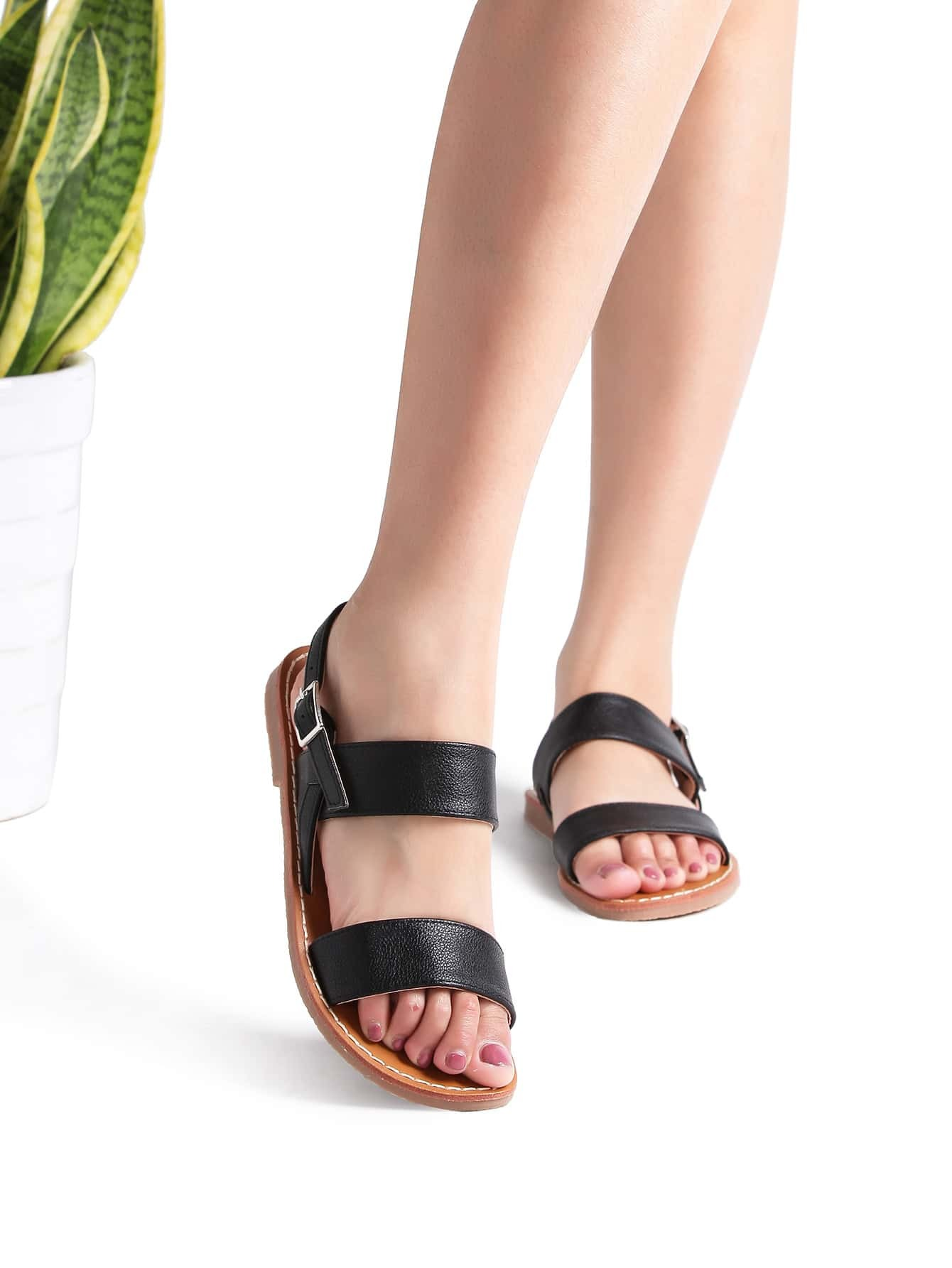 Black Strappy Casual Flat Sandals -SheIn(Sheinside)