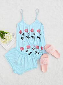 Blue Floral Print Cami Pajama Set