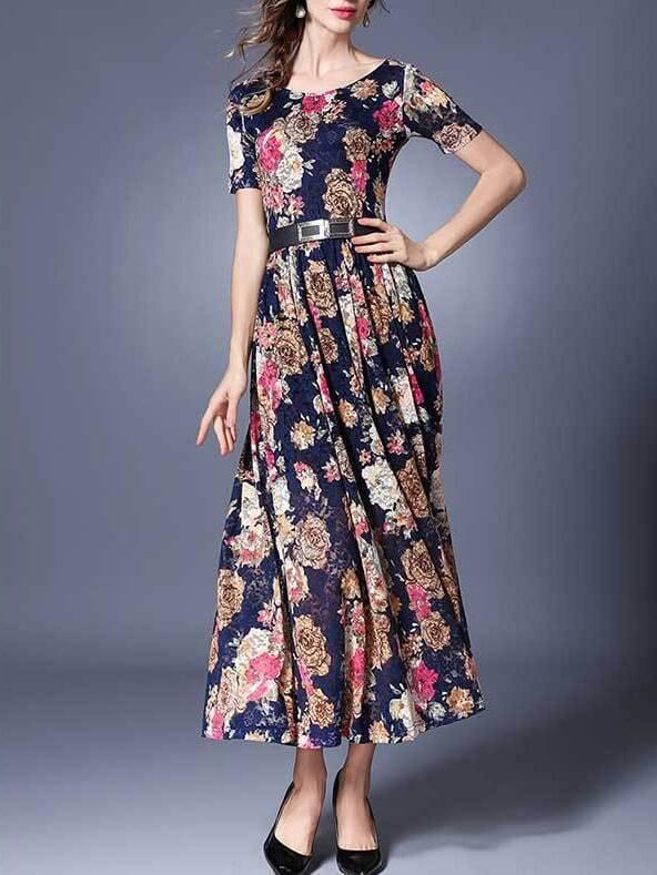 Фото Navy Flowers Print Belted Maxi Dress. Купить с доставкой
