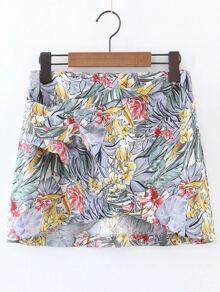 Falda con estampado floral