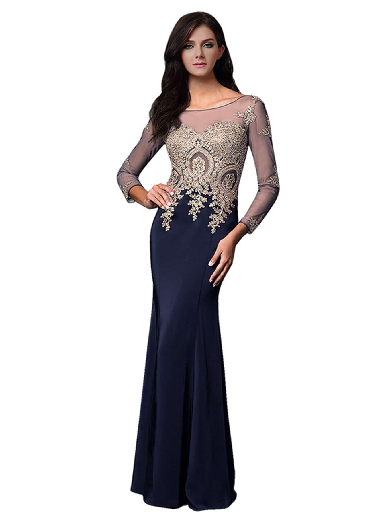 Фото Contrast Mesh Rhinestone Embellished Floor Length Bridesmaid Dress. Купить с доставкой