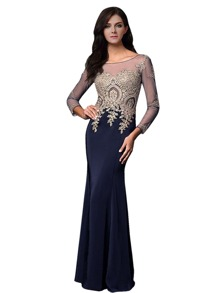 Contrast Mesh Rhinestone Embellished Floor Length Bridesmaid Dress