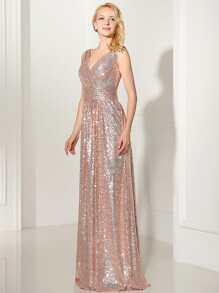 Rose Gold Sequin V Back Maxi Bridesmaid Dress