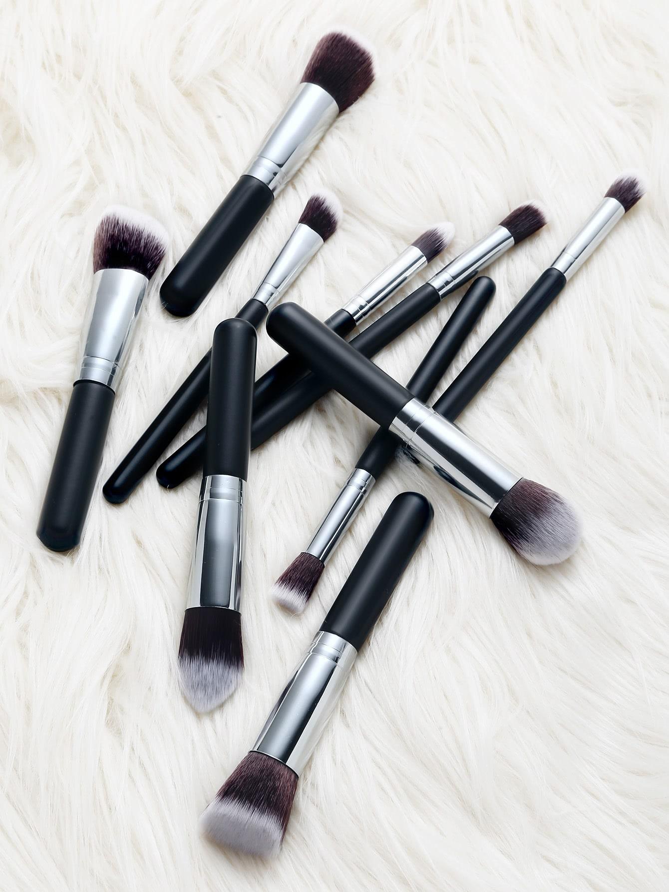 Фото Black And Sliver Professional Cosmetic Makeup Brush Set 10PCS. Купить с доставкой