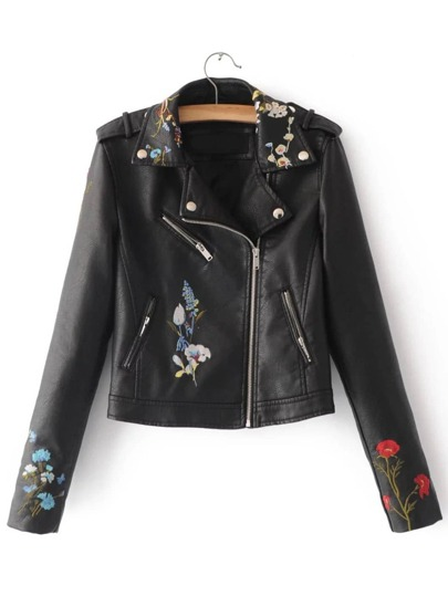Black Embroidery Oblique Zipper PU Jacket