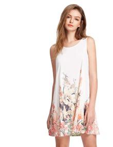 Multicolor Sleeveless Casual Shift Dress