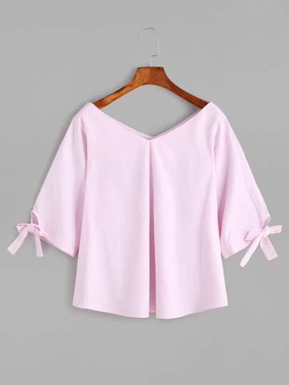 Double V Neck Tie Elbow Sleeve Detail Blouse