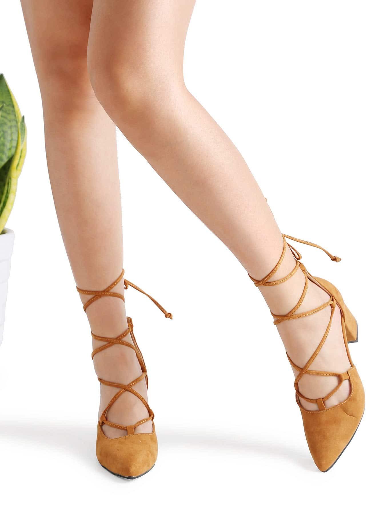 Фото Khaki Point Toe Lace Up Heeled Shoes. Купить с доставкой