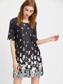 Black Paisley Print Tunic Dress