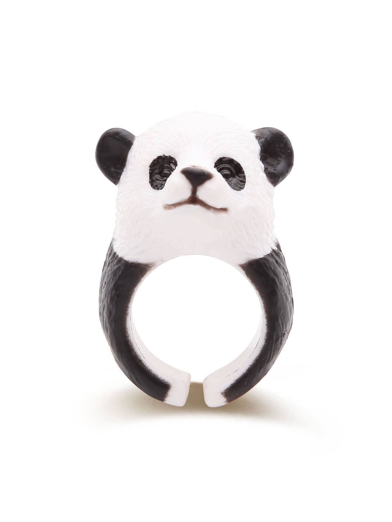 Black And White Panda Shaped Cute Ring ringRG170316302