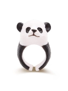Black And White Panda Shaped Cute Ring