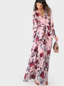 Flower Print Long Cuff Sleeve Surplice Wrap Dress