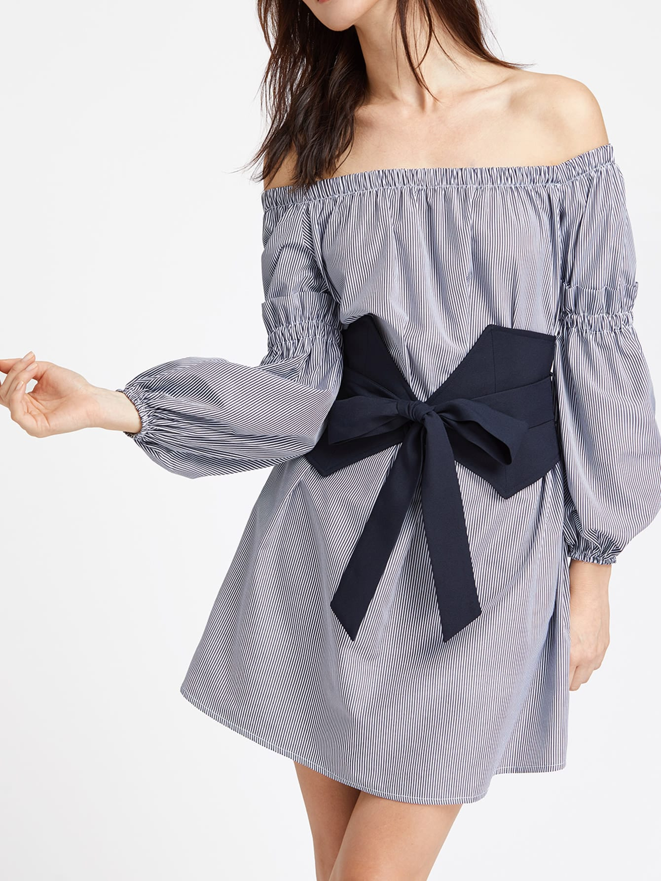 Off Shoulder Shirred Ruffle Detail Bishop Sleeve Belt Dress pearl detail frill off shoulder dress