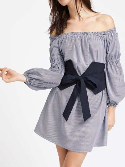 Off Shoulder Shirred Ruffle Detail Bishop Sleeve Belt Dress