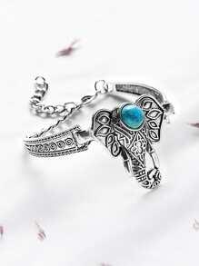 Brazalete de elefante con incrustaciones de turquesa de plata antigua