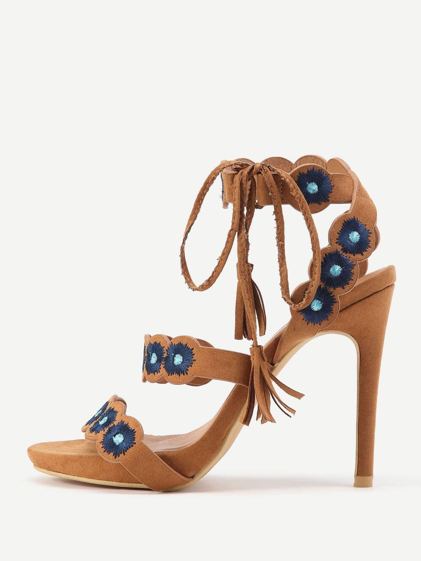 Фото Peep Toe Embroidery High Heeled Sandals With Tassel Tie. Купить с доставкой