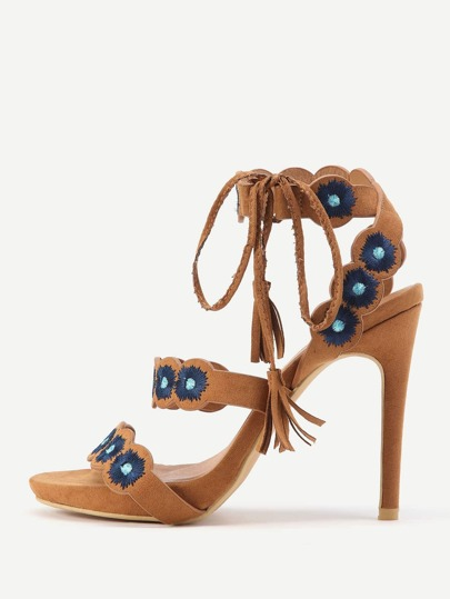 Peep Toe Embroidery High Heeled Sandals With Tassel Tie