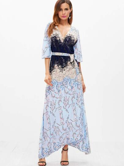Blossom Print Elbow Flute Sleeve Belt Surplice Asymmetry  Dress