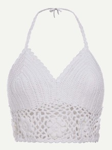 White Hollow Out Crochet Halter Top